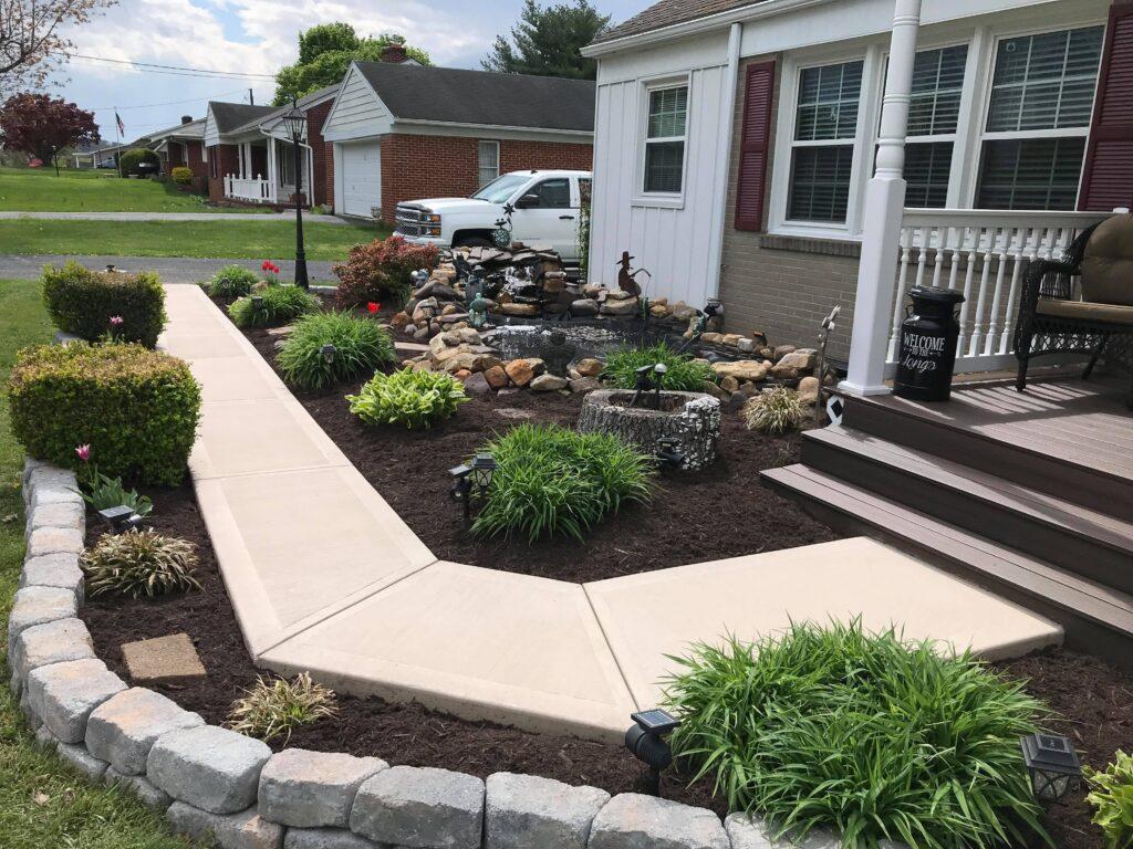 Broom finished concrete sidewalk